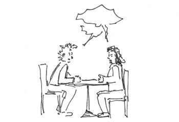 2 Personen am Tisch mit Sprechblasen