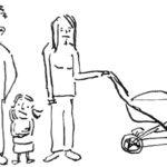 unglückliche Eltern mit Kind und Kinderwagen