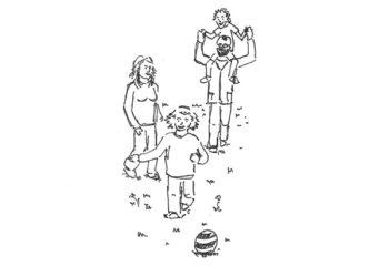 föhliche Familie im Freien